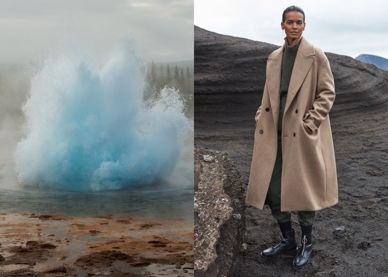 Liya Kebede poses in taupe coat for Mango Committed's fall-winter 2017 campaign