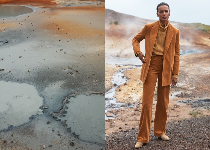Suiting up, Liya Kebede poses in orange suit for Mango Committed's fall-winter 2017 campaign