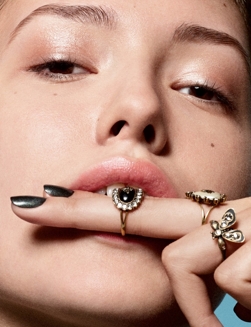 Mathea Lucchini Wears Rouge Makeup Looks in Dior Magazine