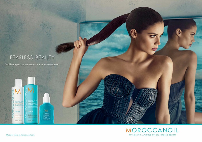 Sara Sampaio wears a sleek ponytail in Moroccanoil campaign