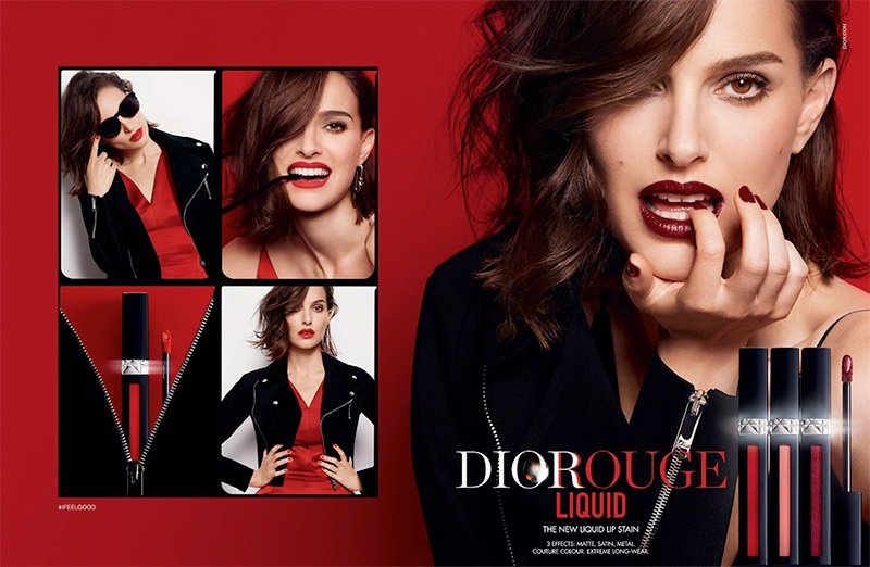 Natalie Portman smolders in Dior Rouge Liquid advertising campaign