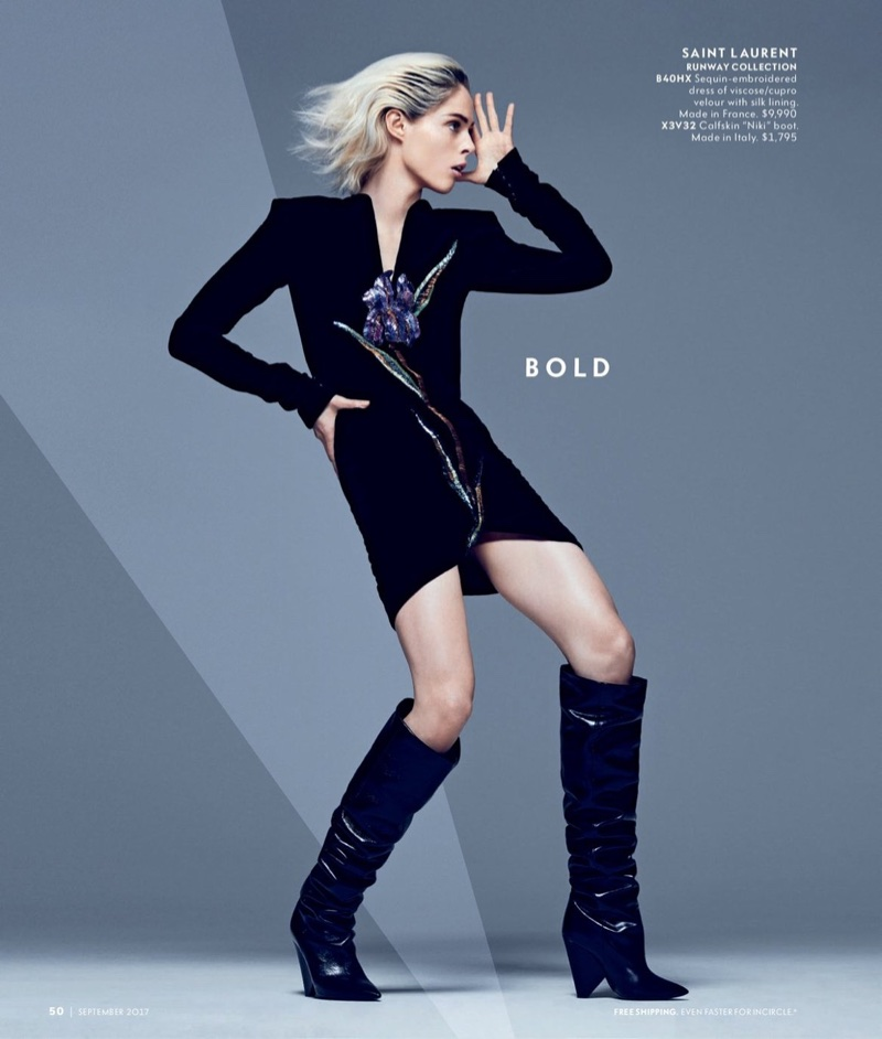 Coco Rocha strikes a pose in Saint Laurent sequin-embroidered dress and leather boots