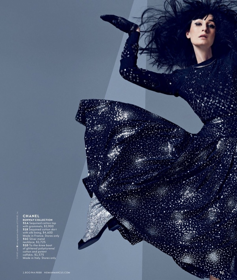 Erin O'Connor models Chanel sequined cotton top, skirt and boots
