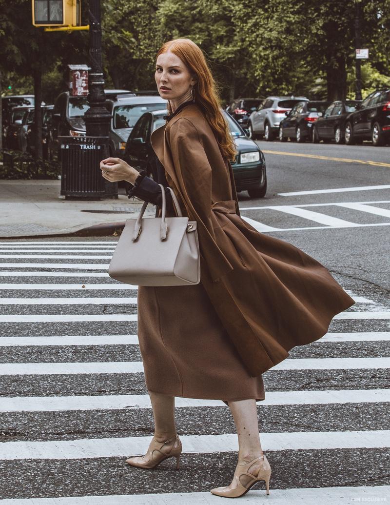 Coat Yves Salomon, Top Zadig & Voltaire; Bag Kate Spade and Skirt Babaton for Aritzia