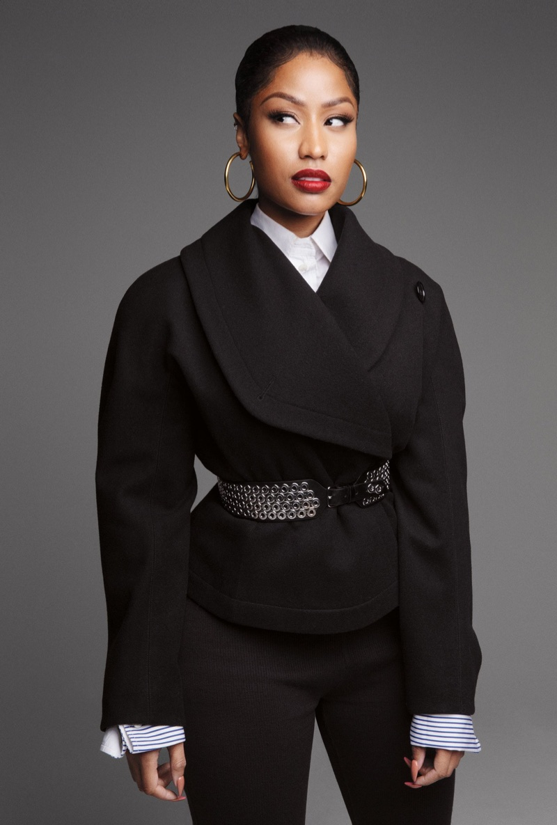 Rapper Nicki Minaj wears vintage Alaïa jacket, Louis Vuitton shirt and Sophie Buhal earrings