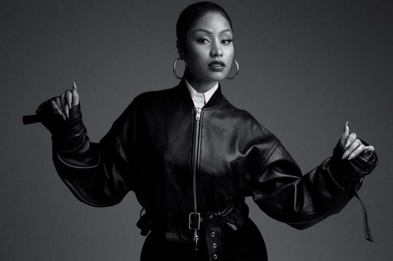 Nicki Minaj poses in leather 3.1 Phillip Lim jacket