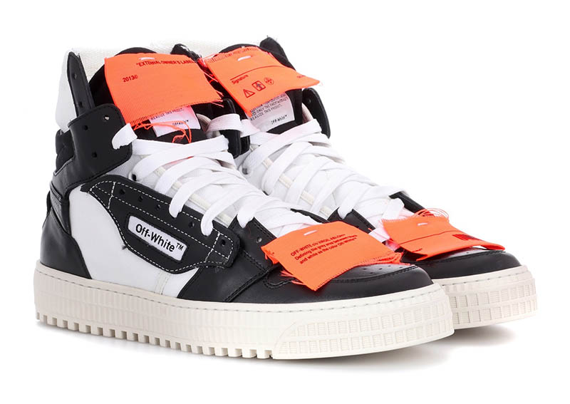 Off-White Leather Sneakers in Black / White / Orange $646