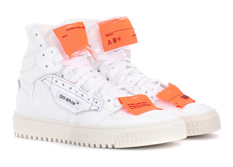 Off-White Leather Sneakers in White / Orange $646