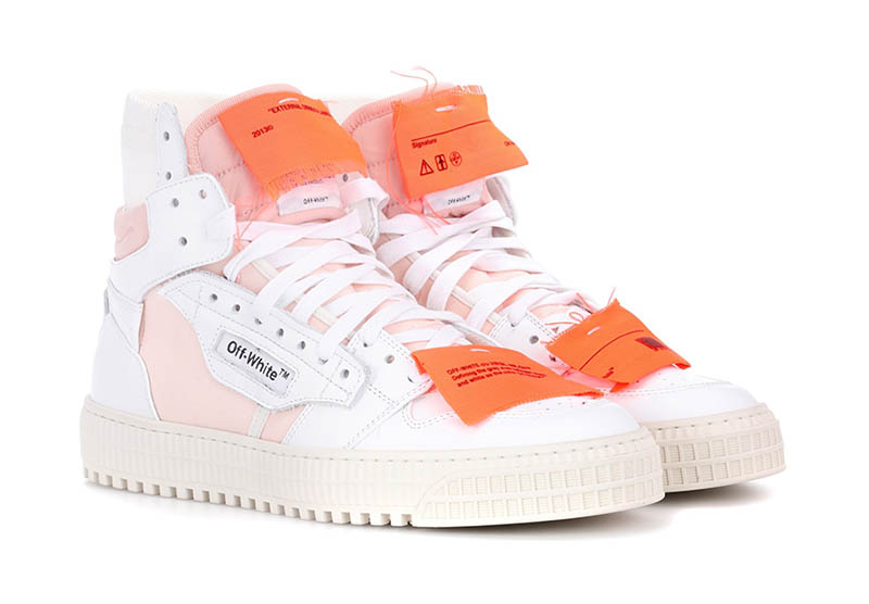 Off-White Leather Sneakers in White / Pink / Orange $646