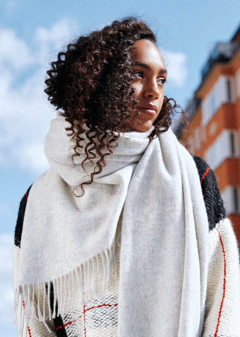 & Other Stories Check Sweater and Oversized Wool Scarf