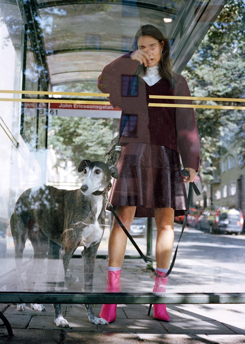 & Other Stories Boiled Wool Jumper, Turtleneck Top, Frill Leather Skirt and Neon Sock Boots