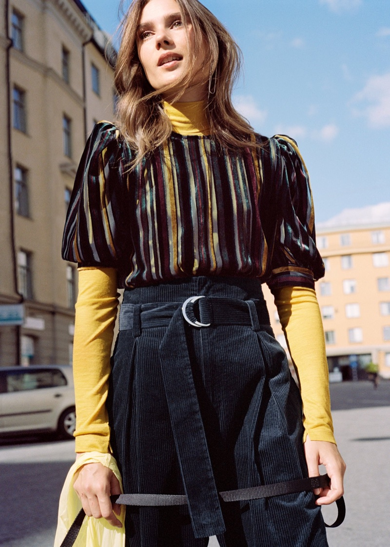 & Other Stories Stripe Velvet Top, Basic Wool Turtleneck and Wide-Leg Trousers