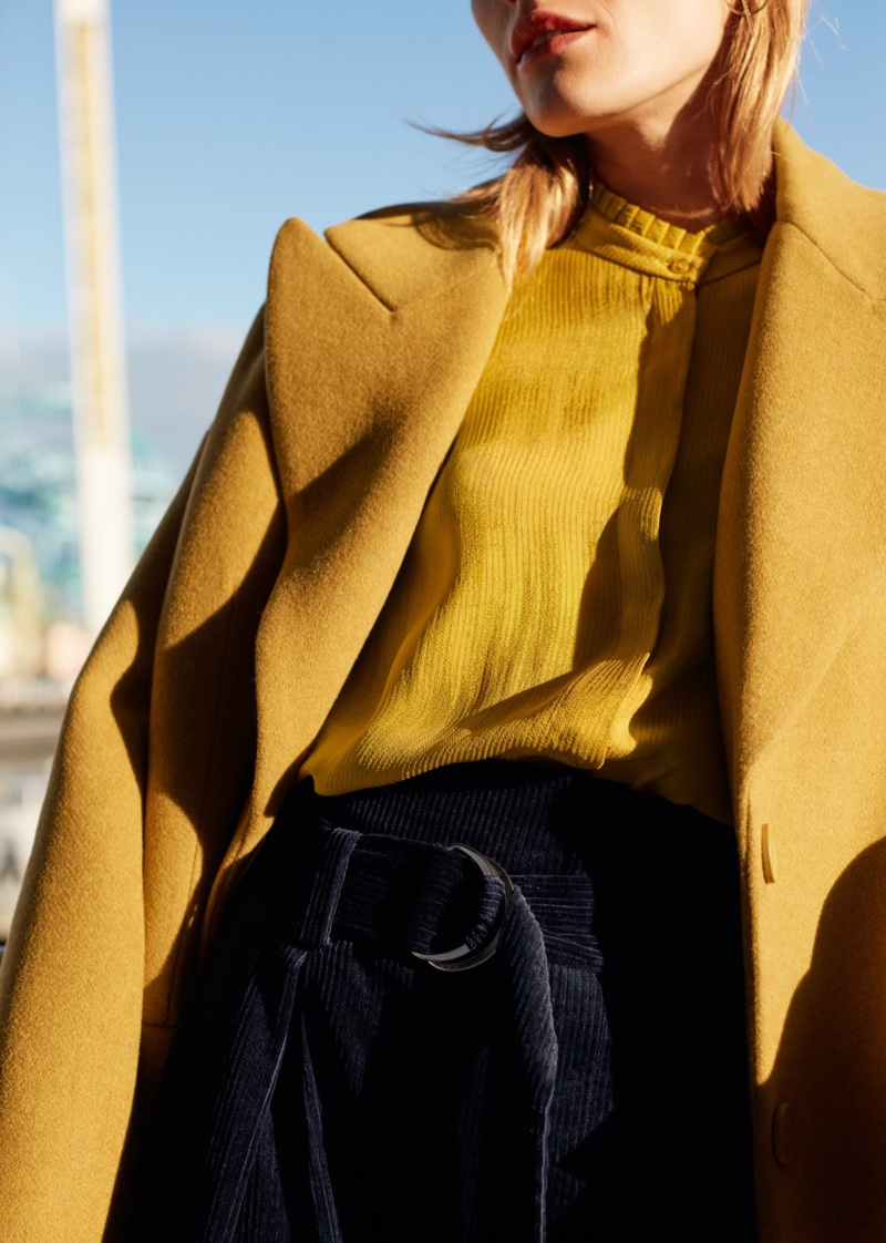 & Other Stories Wool Blend Oversized Coat, Pleat Frill Neck Blouse and Creased Trousers