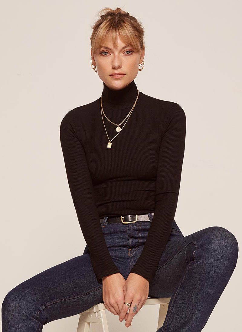 Reformation Bridgette Top in Black $48