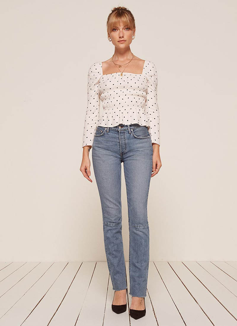 Reformation Brooke High Straight Jean in Aegean $128