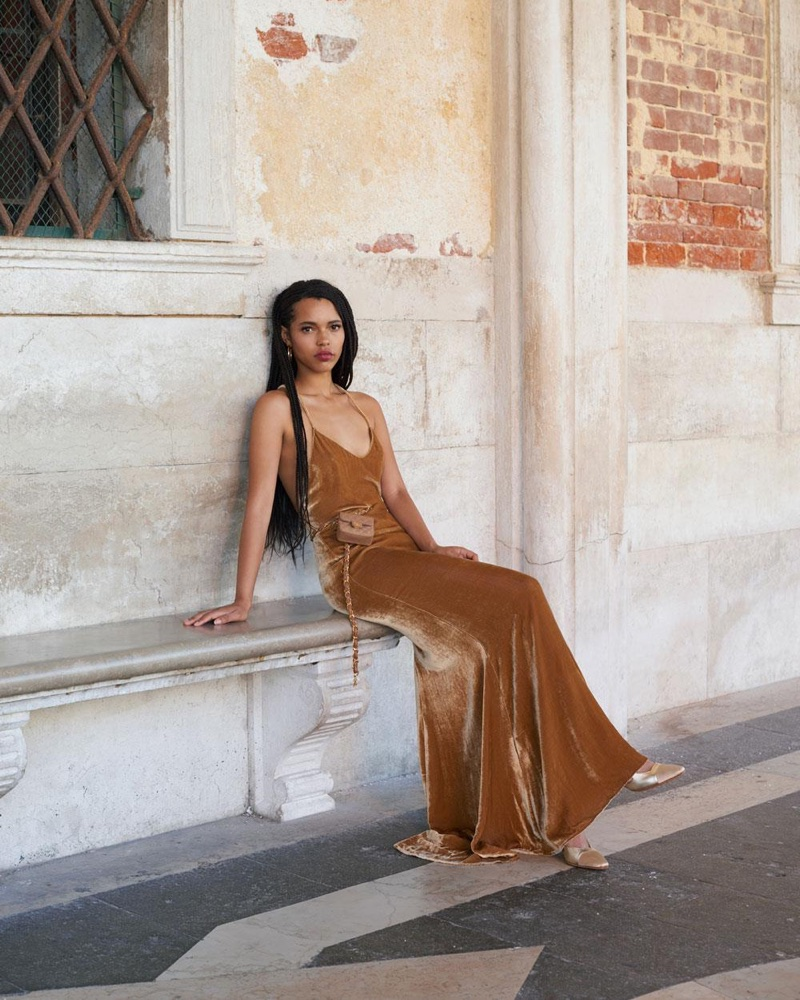 Reformation Rimini Dress in Gold $388