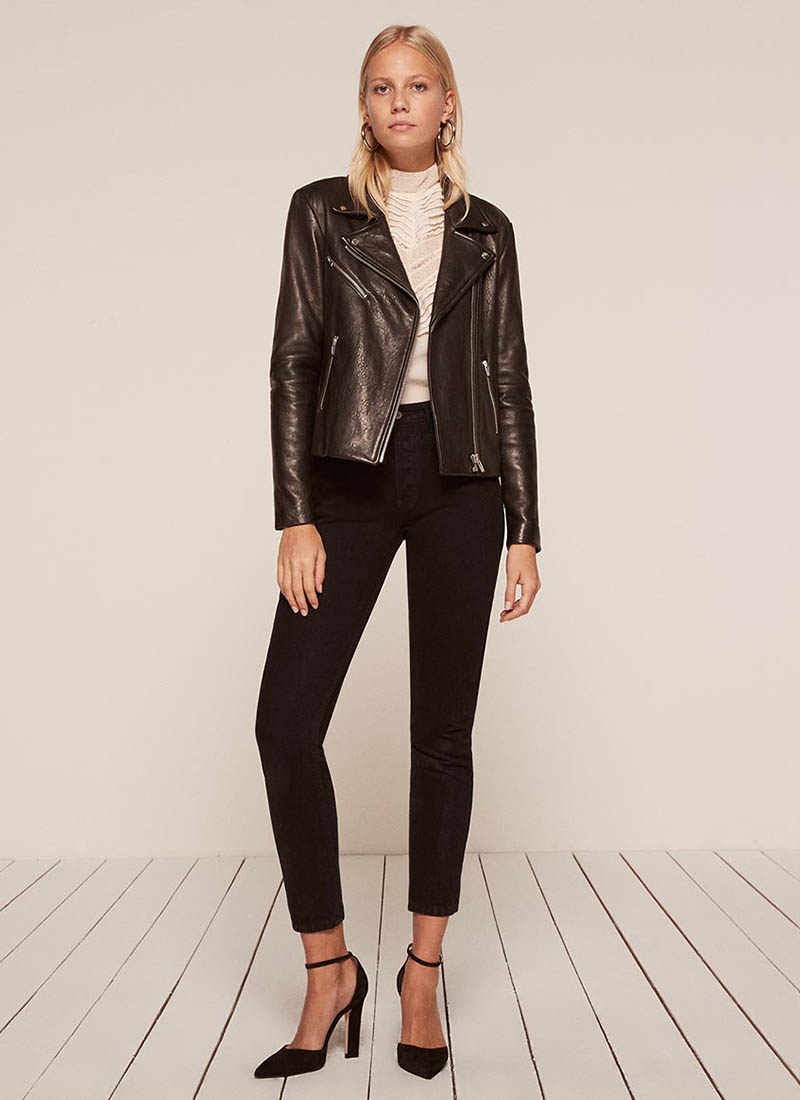Reformation x VEDA Bad Leather Jacket in Black $498