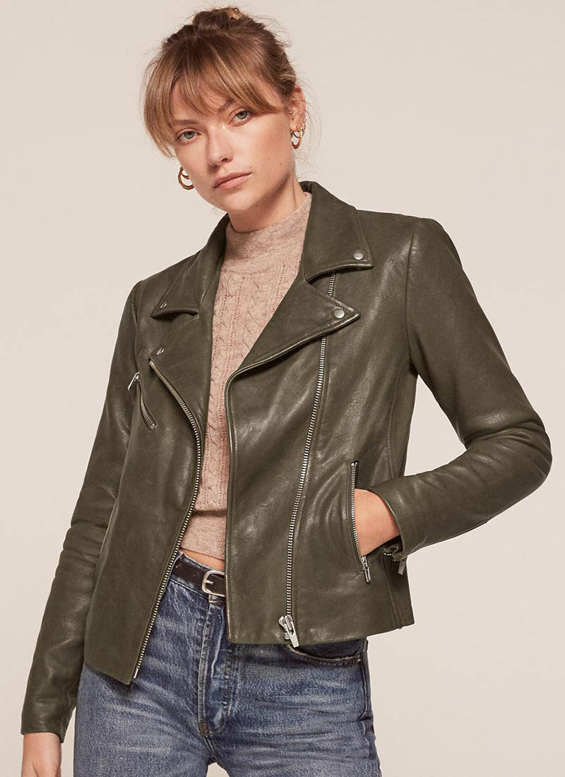 Reformation x VEDA Bad Leather Jacket in Dark Green $498