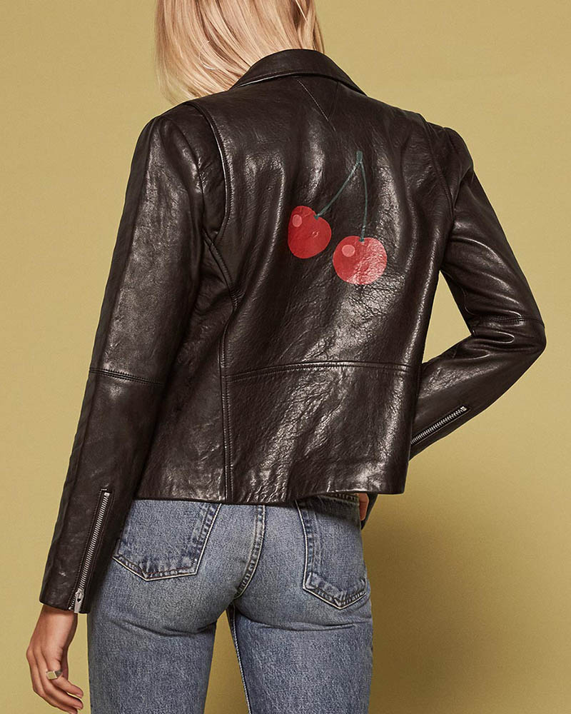 Reformation x VEDA Cherry Leather Jacket $548