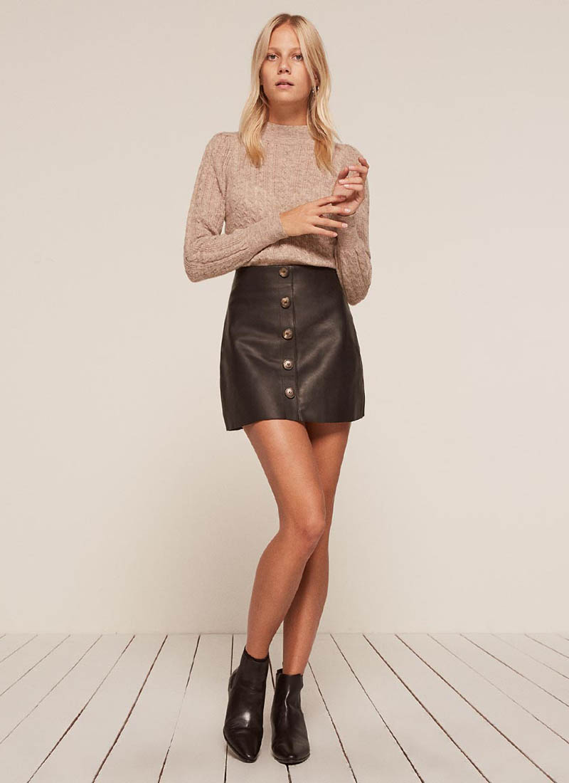 Reformation x VEDA Passito Leather Skirt $238