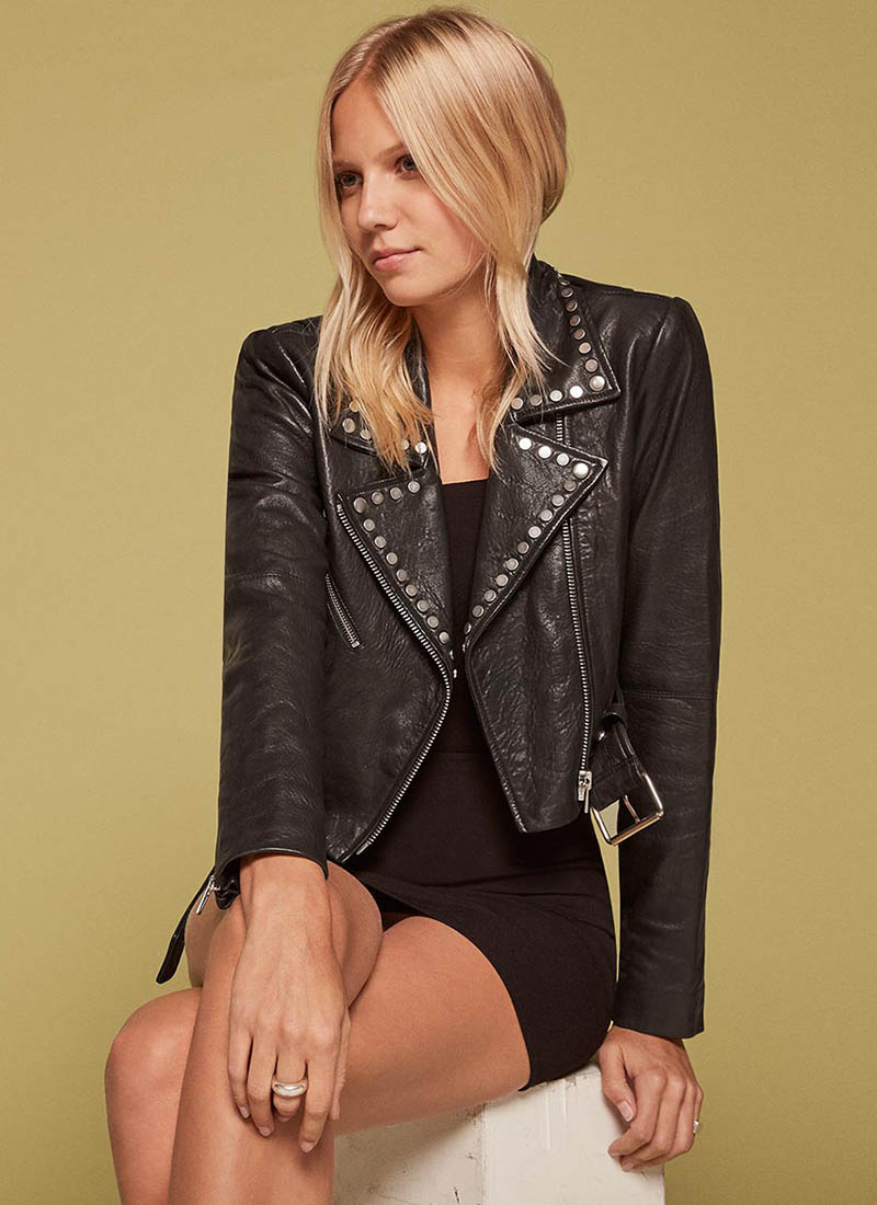 Reformation x VEDA Studded Leather Jacket $628