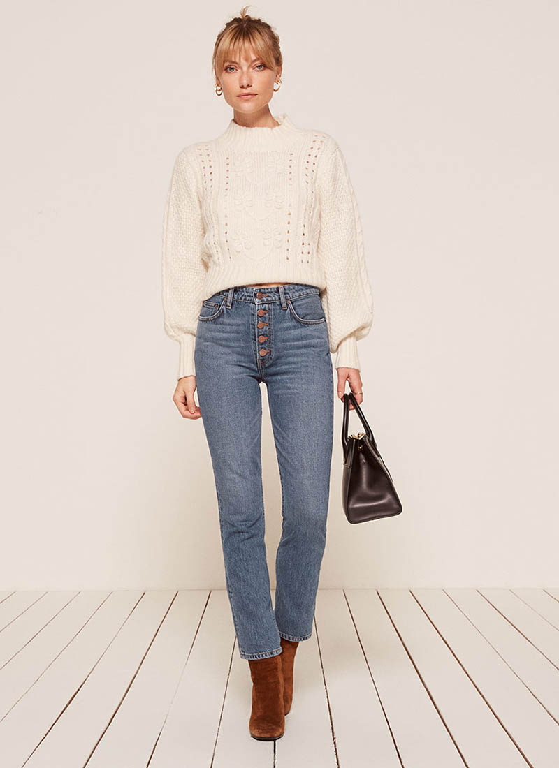 Reformation Winona Mid Slim Jean with Button Fly in Baltic $128