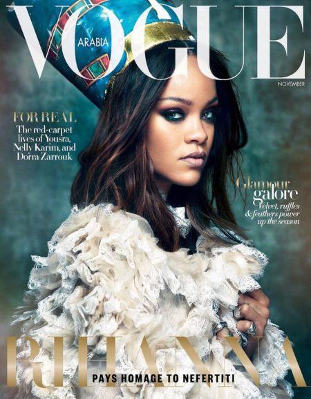Singer Rihanna wears Gucci on Vogue Arabia November 2017 Cover