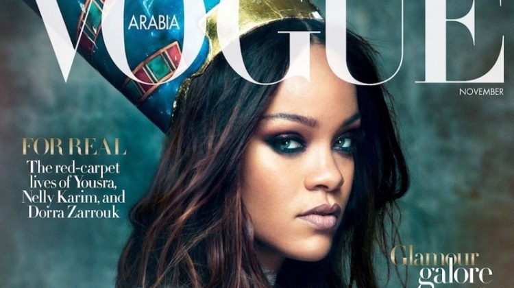 Singer Rihanna wears Gucci on Vogue Arabia November 2017 Cover