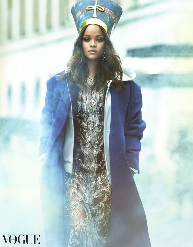 Rihanna poses in Alexander McQueen gown