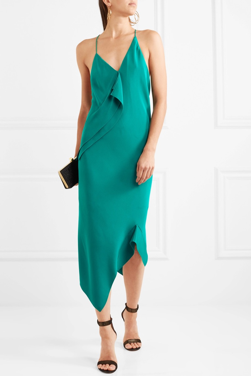Roland Mouret Jimboy Asymmetric Silk Midi Dress $1,595