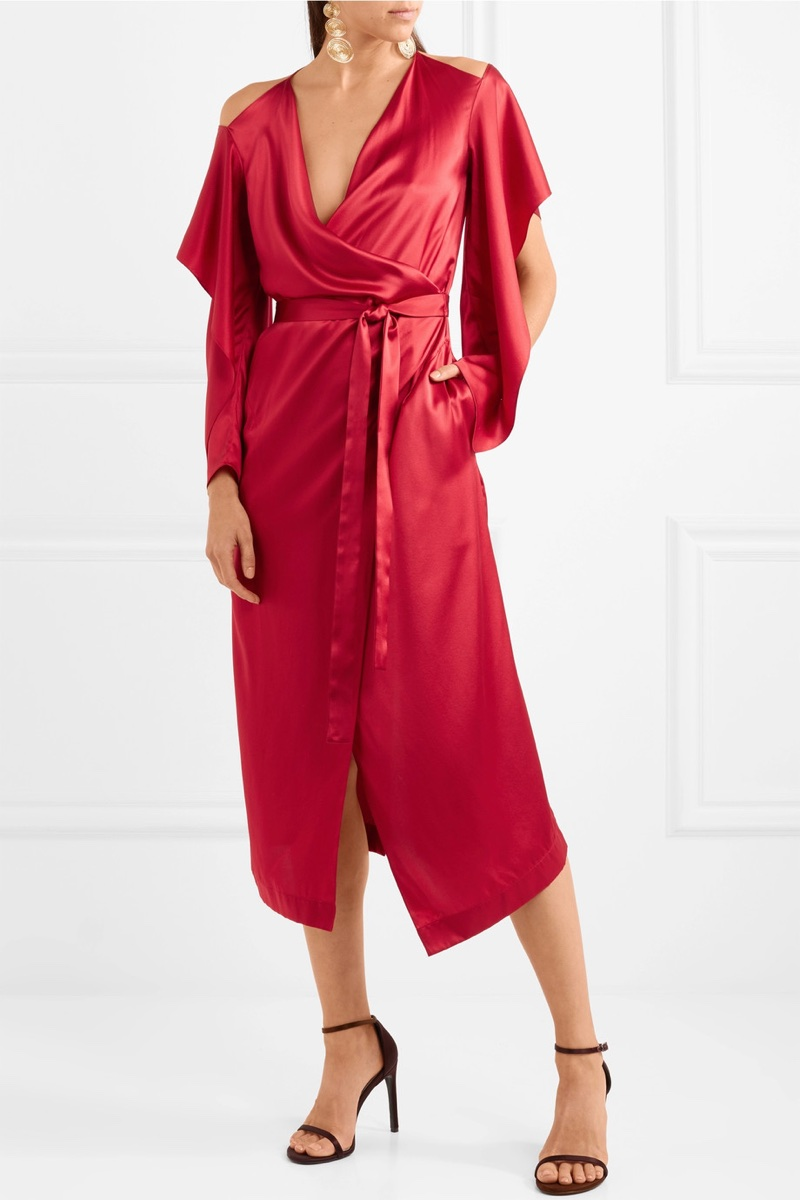 Roland Mouret Serena Cold-Shoulder Silk-Satin Wrap Dress $2,330