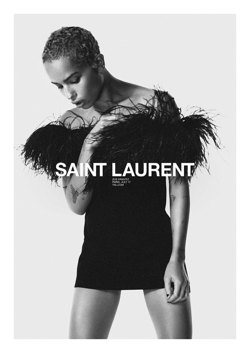 David Sims photographs Zoe Kravitz for Saint Laurent's spring 2018 campaign