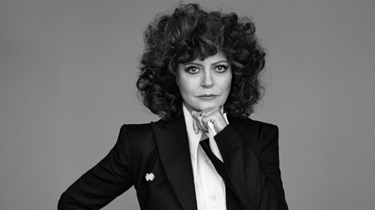 Actress Susan Sarandon poses in Off-White jacket, Ellery blouse and Saint Laurent trousers
