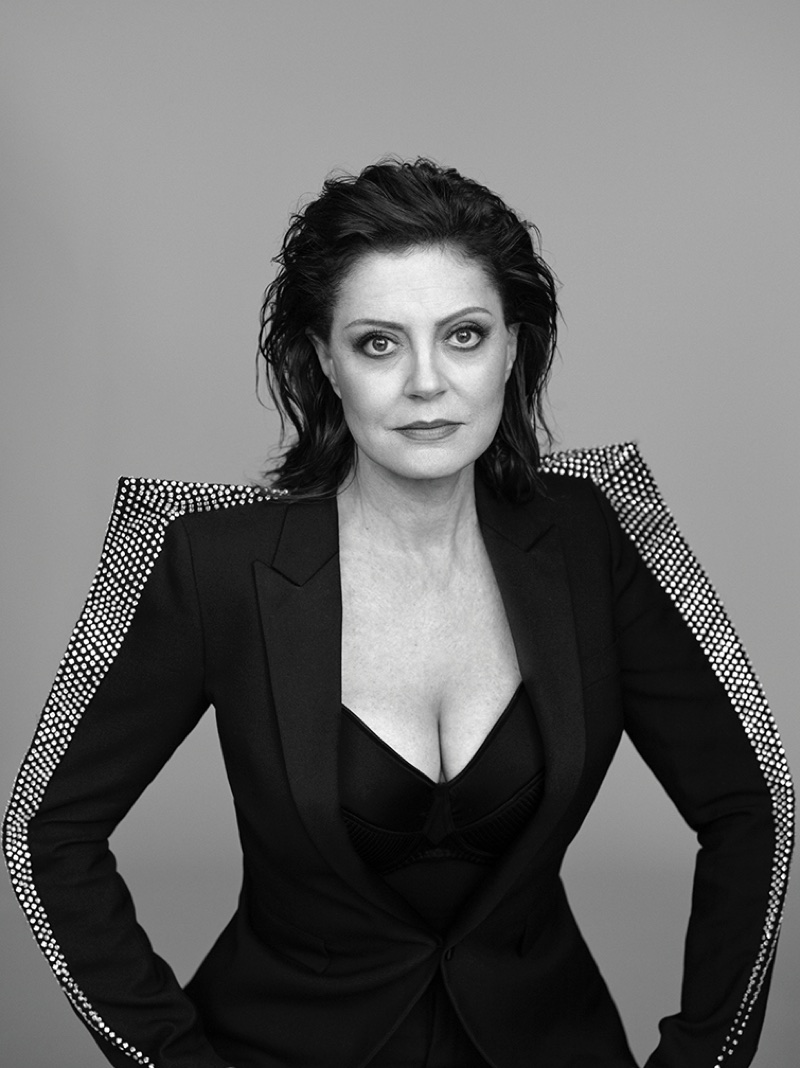 Actress Susan Sarandon poses in Saint Laurent rhinestoned blazer and Fleur du Mal bra