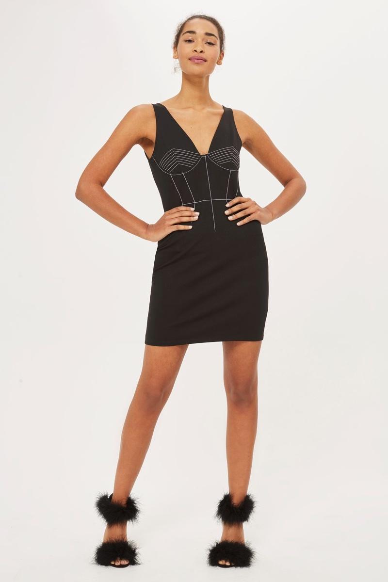 Topshop Contrast Stitch Mini Bodycon Dress $48