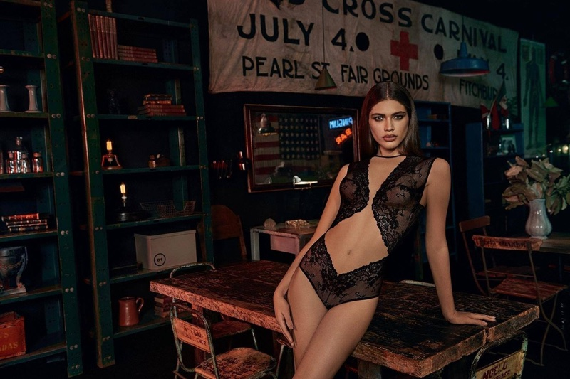 Valentina Sampaio poses in sexy lingerie from Alexandre Herchcovitch for Hope collaboration