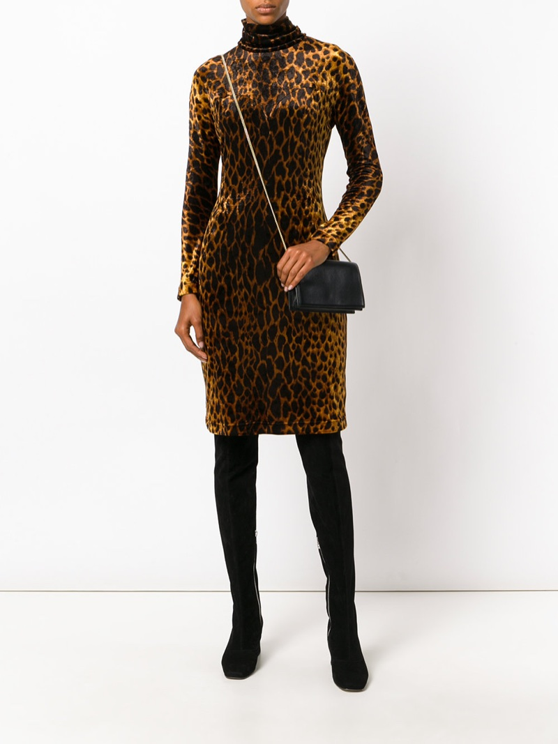 Versace Vintage Animal Printed Velvet Dress $2,134
