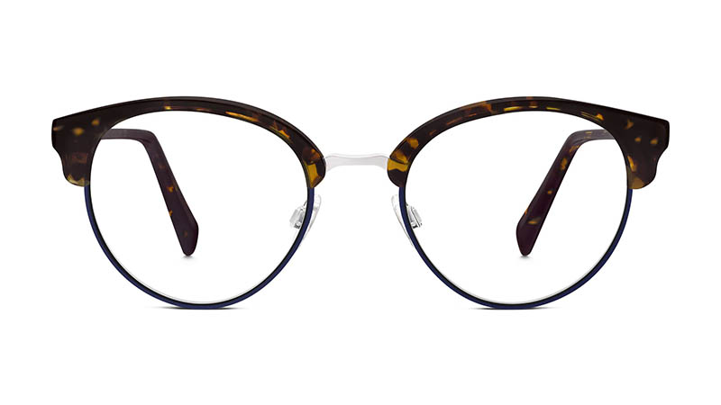 Warby Parker Carraway Glasses in Burnt Amber Tortoise with Navy $195