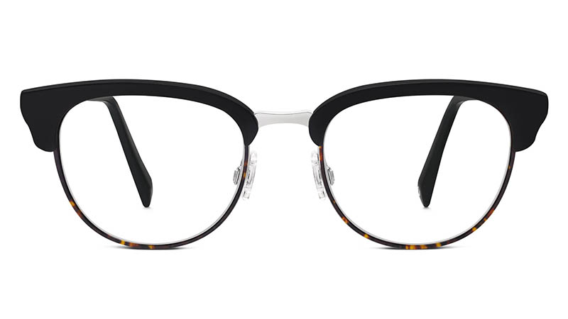 Warby Parker Webster Large Glasses in Jet Black Matte with Burnt Amber Tortoise $195