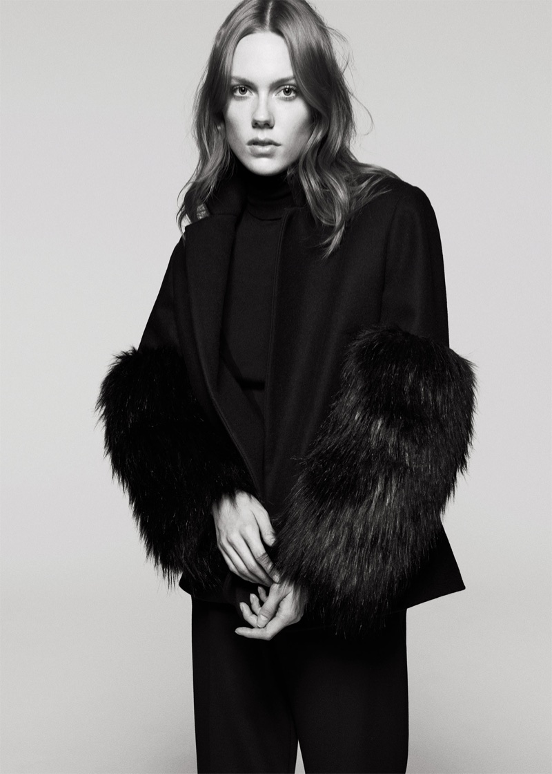 Zara Contrasting Faux Fur Blazer