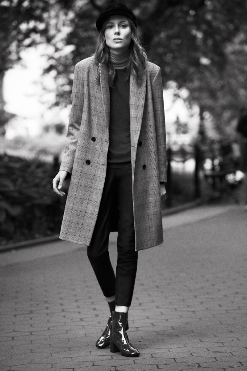 Kiki Willems wears Zara Checked Coat, Faux Suede Leggings and Faux Patent Ankle Boots