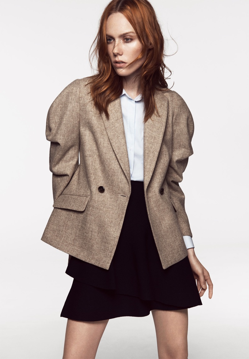 Zara Wool Blazer with Full Sleeves and Poplin Shirt