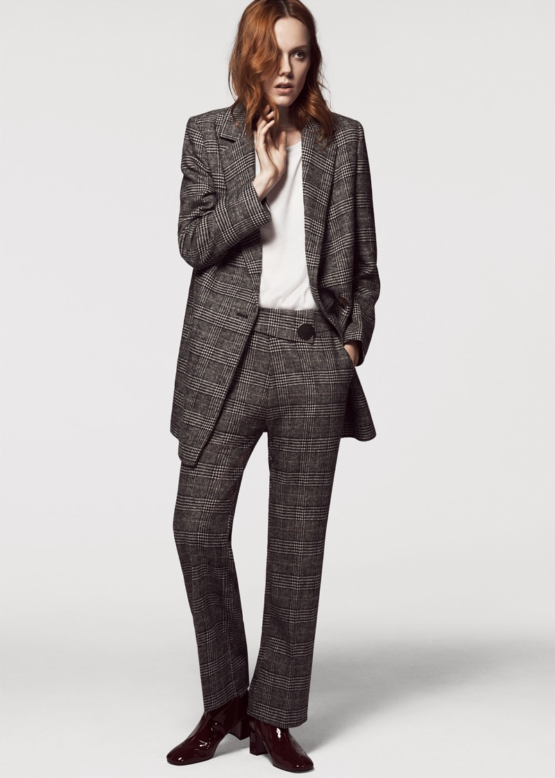 Kiki Willems suits up in Zara Double Breasted Checked Blazer, Poplin Shirt, Checked Trousers and Faux Patent Ankle Boots
