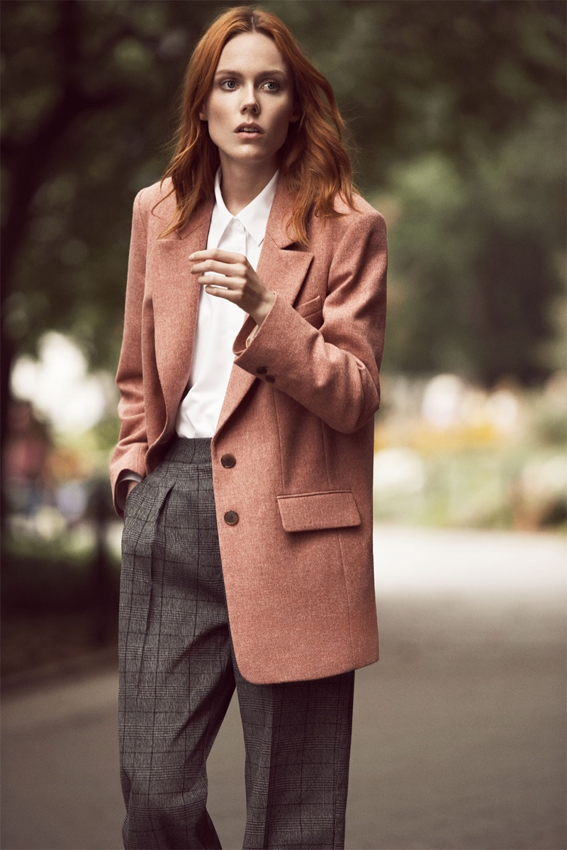 Zara Pink Marl Jacket, Poplin Shirt and Checked Flannel Trousers