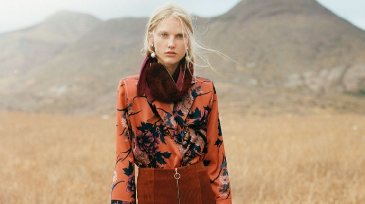 Model wears Zara printed sateen bodysuit, pearly earrings, shawl with textured detail and knotted high heel slingbacks
