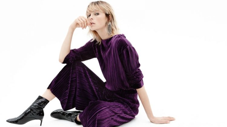 Zara Pleated Velvet T-Shirt, Pleated Velvet Skirt, Faux Patent Ankle Boots and Sparkly Ear Cuff