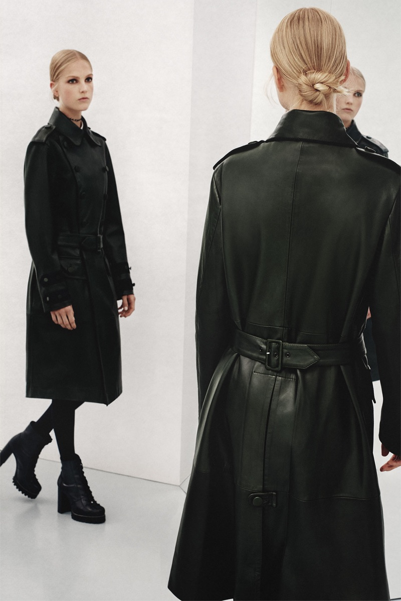 Kirin Dejonckheere models Zara leather coat and lace-up leather ankle boots