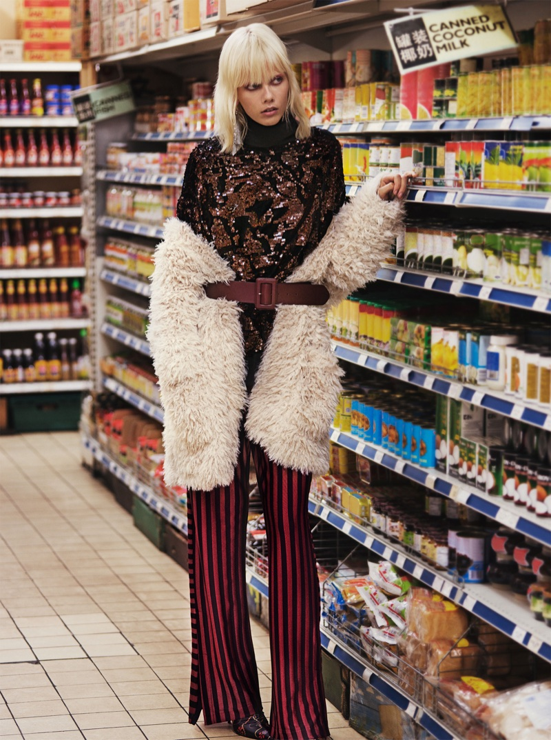 Zara Oversized Faux Fur Jacket, Sequined Sweatshirt, Striped Trousers and Printed Ankle Boots