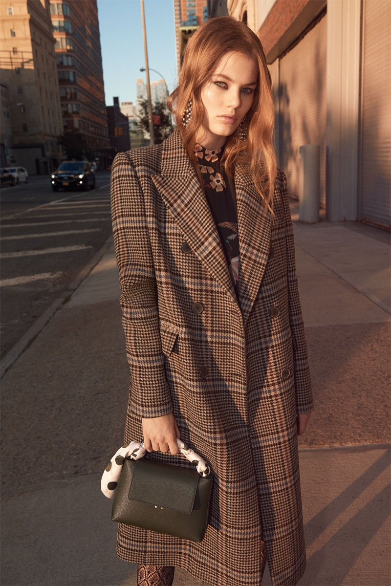 Zara oversized checked coat, mini city bag with polka dot print scarf and long shiny earrings
