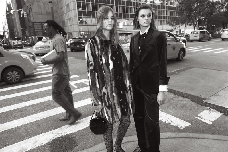 Cara Taylor and Myrthe Bolt pose in Zara's Mid-Town Warm Up lookbook